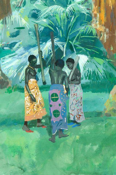 Jacques MAJORELLE (1886-1962)  Pileuses de mil dans la palmeraie de Marrakech. Circa...