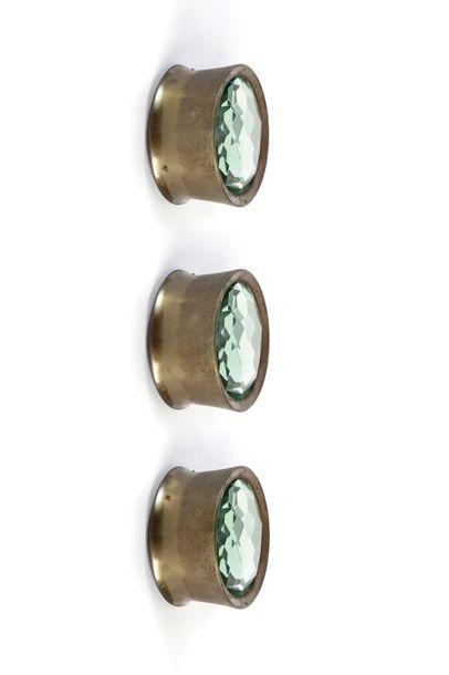 Max INGRAND  (1908-1969)  3 plafonniers dit 2319  Laiton, verre  10 x 16 cm.  Fontana...