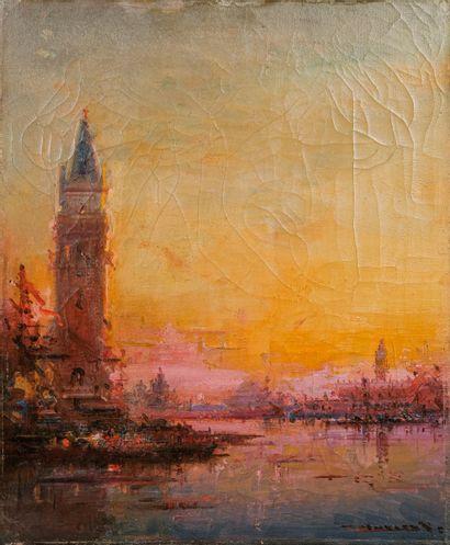 Henri DUVIEUX (c.1855-1902)  Venise au crépuscule...