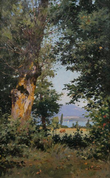 Joseph GARIBALDI (1863-1941)  Le lac  Huile...