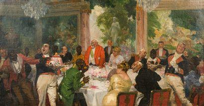 René LELONG (1871-1938)  Le banquet  Huile...