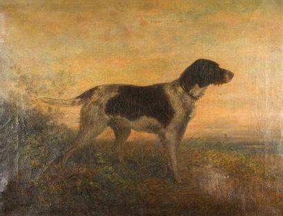 Anton BURGER (1824-1905)  Le chien  Huile...
