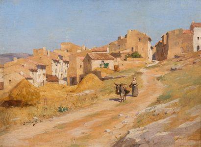 Joseph GARIBALDI (1863-1941)  Scène de village....