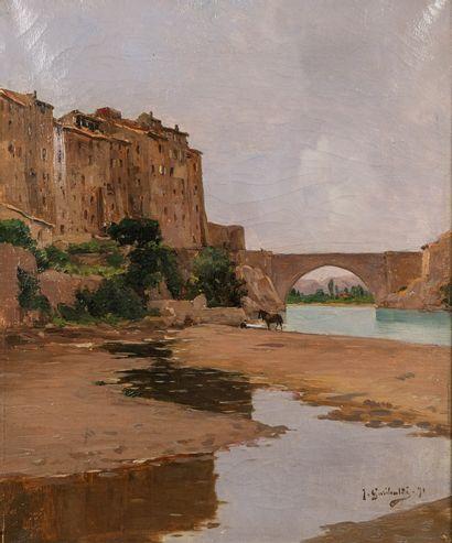 Joseph GARIBALDI (1863-1941)  Village suspendu...