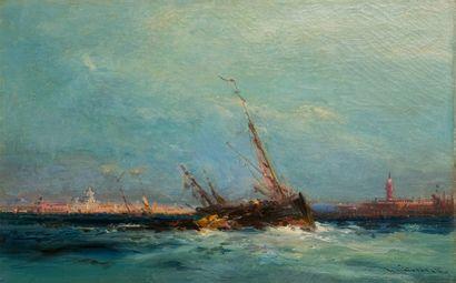 Henri DUVIEUX (c.1855-1902)  Bateau dans...