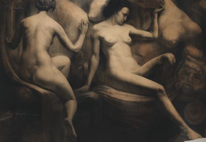 Marcel CAUTER VAN (1919)  Nus féminins  Fusain,...