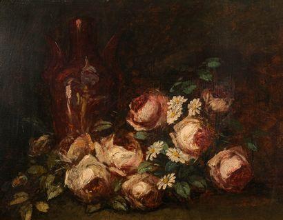 Félix ZIEM (1821-1911)  Jetée de roses  Huile...