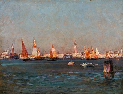 Jean-Baptiste OLIVE (1848-1936)  Vue de Venise....