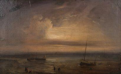 Théodore GUDIN (1802-1880)  Bâteaux en bord...