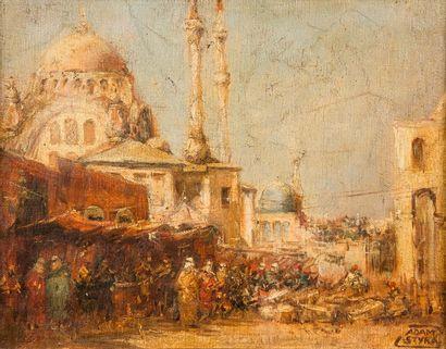 Adam STYKA (1890-1959)  Marché à Istanbul,...