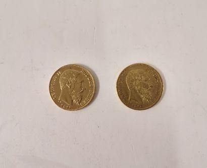 BELGIQUE  20 Francs or Leopold II, 1870 et...