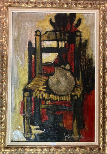 Jef FRIBOULET (1919-2003)  La chaise.  Huile...