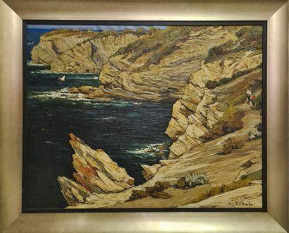 Gustave VIDAL (1895-1966)  Calanques.  Huile...