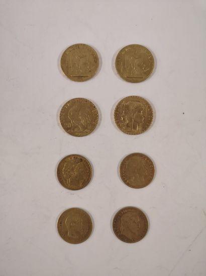 20 Francs or, 4 exemplaires (IIIème République,...