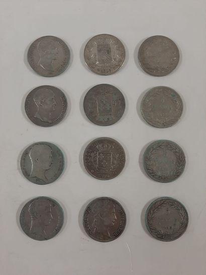 Monnaie en argent, lot :  5 Franc, 12 exemplaires...