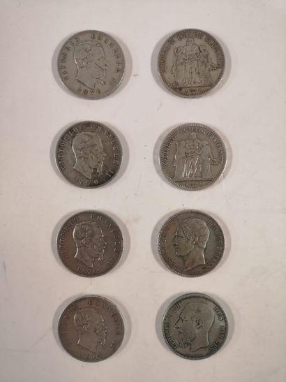 Monnaie en argent, lot :  5 Francs 4 exemplaires...