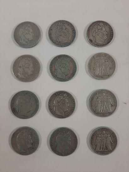 Monnaie en argent, lot :  5 Francs, 12 exemplaires...