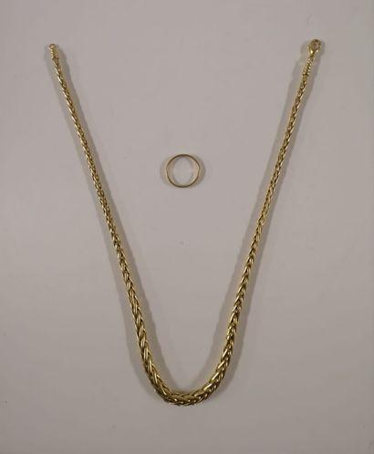 Lot comprenant un collier en or jaune 18K...