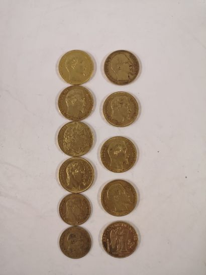 20 Francs or, 9 exemplaires (Second Empire...