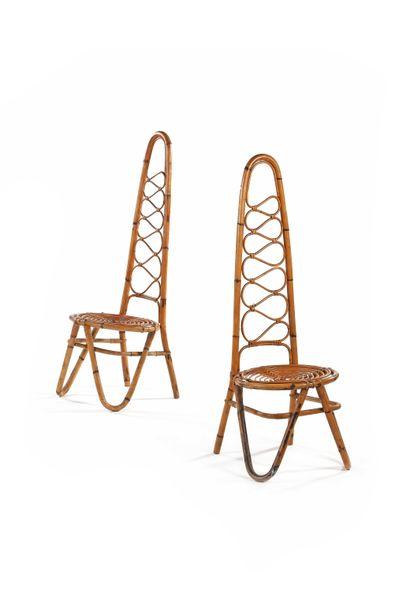 BONACINA  Paire de chaises  Rotin  108 x...