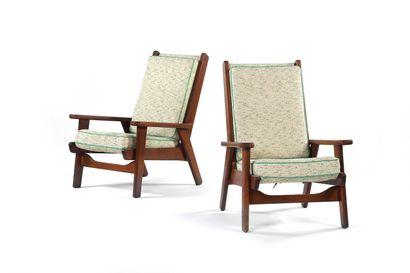 Pierre GUARICHE  (1926-1995)  Paire de fauteuils...