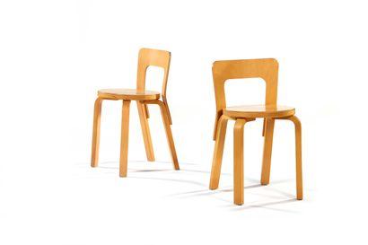 Alvar AALTO  (1898-1976)  Paire de chaises...