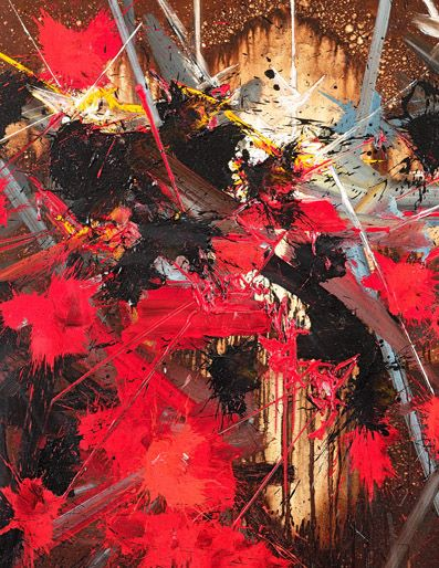 Georges MATHIEU (1921-2012)  Forets attentives. 1989  Alkyde sur toileSignée en...