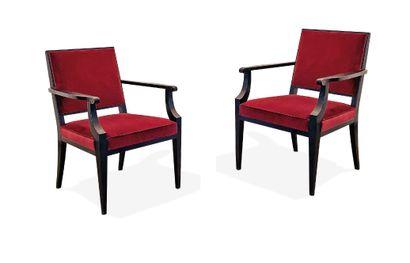 Jean PASCAUD (1903-1996)  Paire de fauteuils...