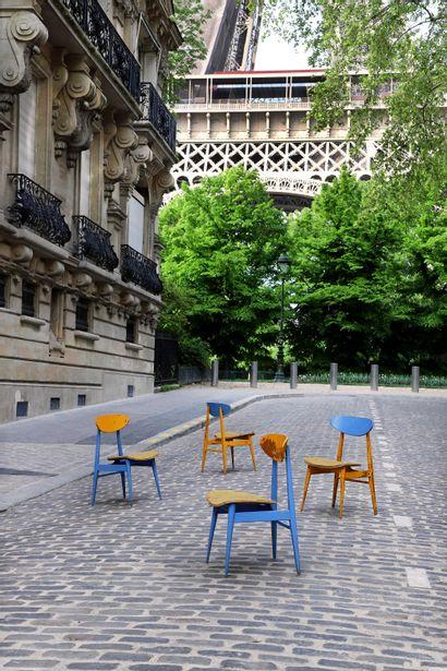 André SIVE (1899-1958)  Suite de 4 chaises...