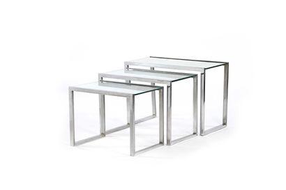 Jacques ADNET (1900-1984)  3 tables gigognesMiroir,...