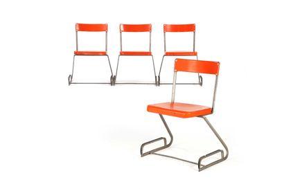 August SCHADLER (1877-1954)  Suite de 4 chaises...
