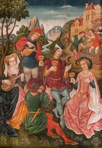 SPANISH FORGER (XIXème siècle)  Scène galante médiévale. Huile sur panneau.  22...
