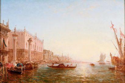 Félix ZIEM (1821-1911)  Venise.  Huile sur toile.  Signée en bas à gauche.  81 x...