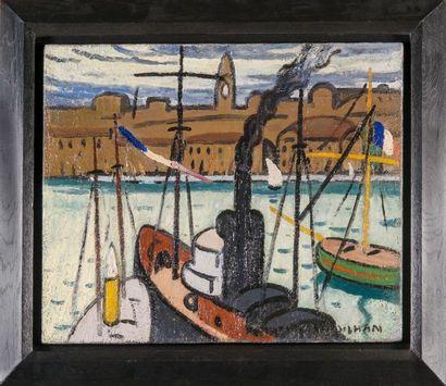 Louis Mathieu VERDILHAN (1875-1928) Marseille, Le Vieux Port. Huile sur toile. Signée...