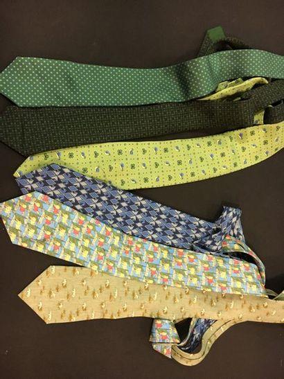 HERMES Paris Made in France Lot de 3 cravates...