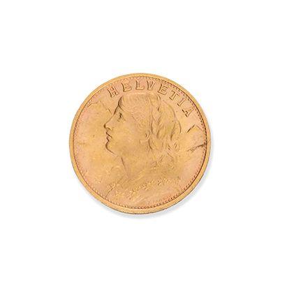 SUISSE 20 Francs or. Type Vrénéli, 2 exemplaires...
