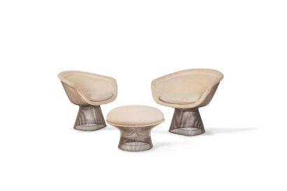 Warren Platner (1919-2006) Paire de fauteuils et un ottoman en fils d'acier à finition...