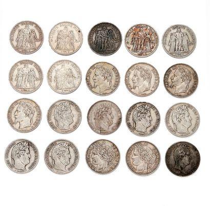 Lot de 20 pièces en argent 1er titre 900...