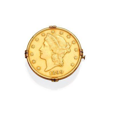 Broche en or jaune 18K 750‰, parée d'une...
