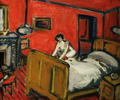 Auguste CHABAUD (1882-1955) La chambre rouge....