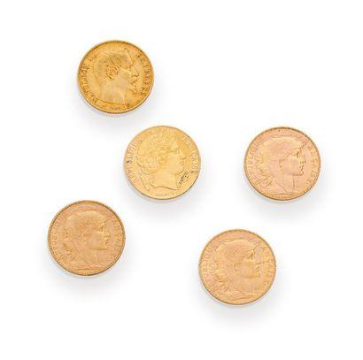 Lot de 5 pièces de 20 francs or : - 3 au...