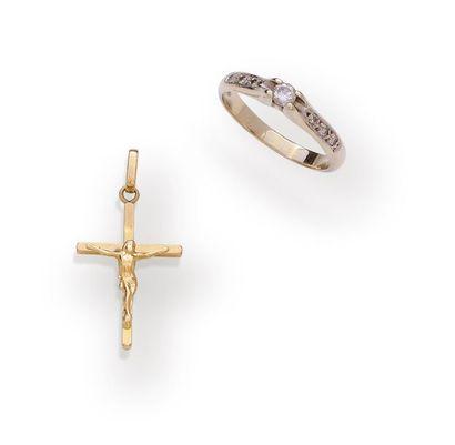 Bague en or gris 18K 750‰ sertie d'un diamant...