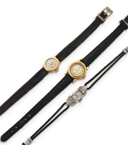 Lot de 3 montres de dame en or 750 millièmes...