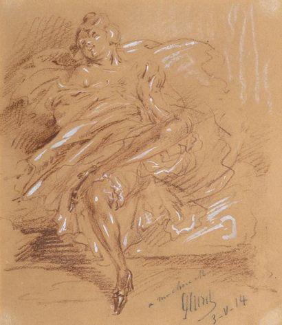 Jules CHÉRET (1836-1932)  Jeune femme alanguie....