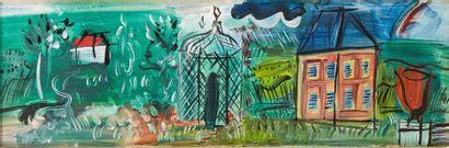 RAOUL DUFY 劳尔·杜飞 (1877-1953) Paysage a la tonnelle Huile sur panneau 18,5 x 52,5...