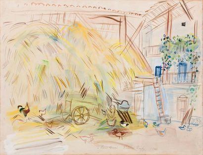RAOUL DUFY 劳尔·杜飞 (1877-1953) Moisson, 1944 Aquarelle et gouache sur papier signée,...