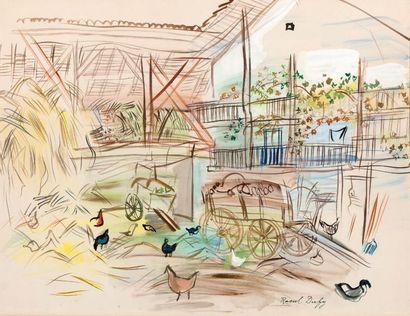 RAOUL DUFY 劳尔·杜飞 (1877-1953) La grange,1944 Aquarelle sur papier, signée en bas à...