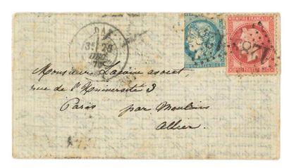 CACHET DE REPÊCHAGE DE 1873 (MANTES-SURSEINE)...
