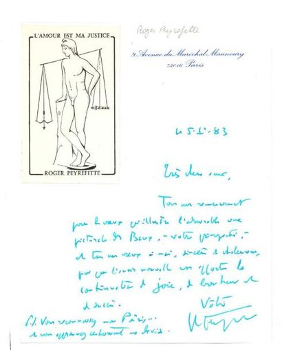 PEYREFITTE ROGER (1907-2000) 9 lettres autographes signees a Yves Brayer, 1981-1984....