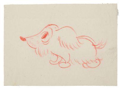 FEDERICO FELLINI 费德里科·费里尼 (1920-1993) * Le chien de Julietta Dessin au crayon de...